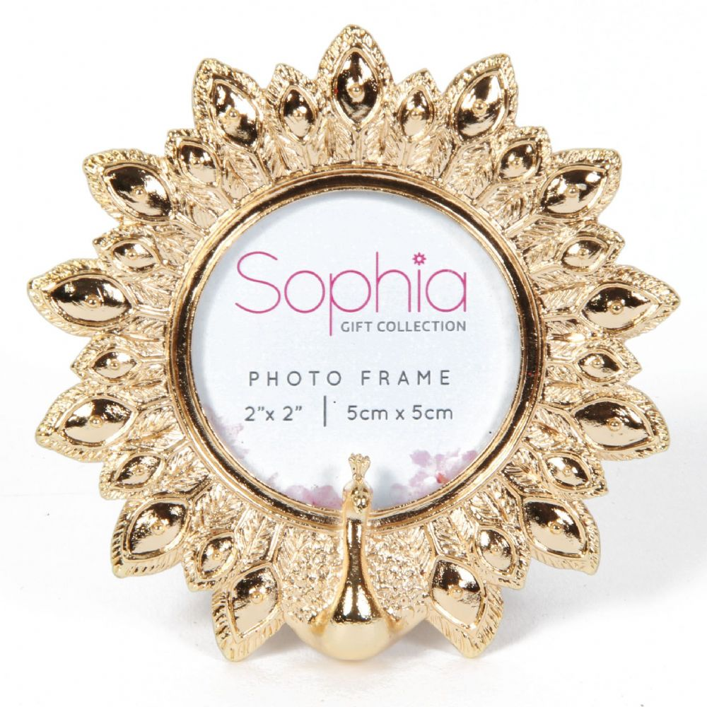 Peacock Photo Frame - Gold Round Photo Frame Peacock Design by Sophia